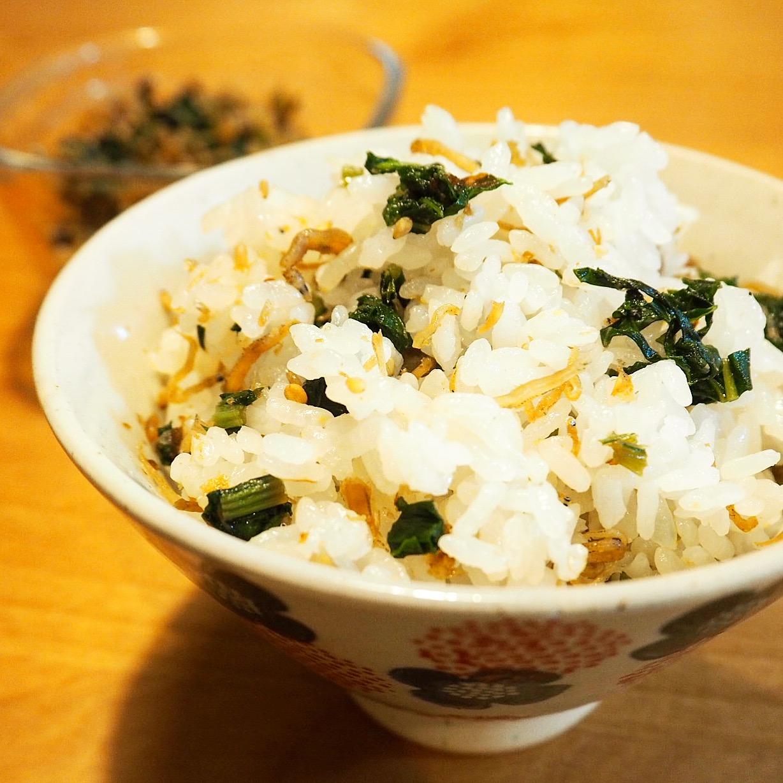 かぶ菜としらすの混ぜご飯